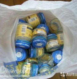 Баночки від харчування - чисті, з кришечками, штук 150