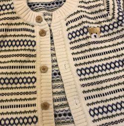 Costum tricotat de jacquard (pentru copii 1-2g)