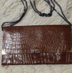 Evening handbag from genuine crocodile leather