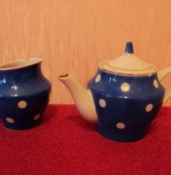 Kettle Sugar Bowl Porcelain