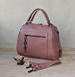 Нова сумка з натуральної шкіри колір пудровая троянда