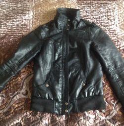 Jachetă din piele cu bershka