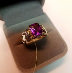 Ring with jaguars. Stone Alexandrite. Silver 925