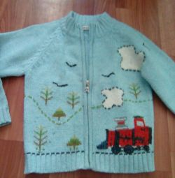 Woolen sweater jacket warm growth 104-110
