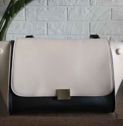 Handbag color block beige-black leatherette