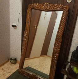 Huge mirror with carved wood border