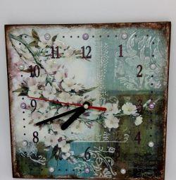 Clock Tea house decoupage