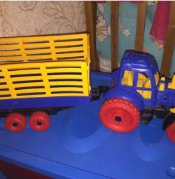Tractor de mașini cu jucărie de remorcă