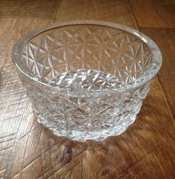 Crystal vase, diameter 16 cm