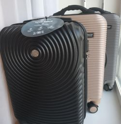New suitcase, hand luggage, with scales