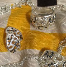 Σετ (δαχτυλίδι + σκουλαρίκια + κρεμαστό κόσμημα + αλυσίδα)