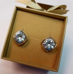 Earrings with rhinestone. 925 sterling silver