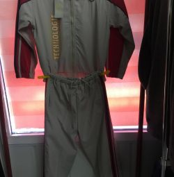 Sports suit from raincoat fabric.