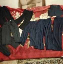 Pantaloni școală albastru închis / negru 128 / 134-140 / 146