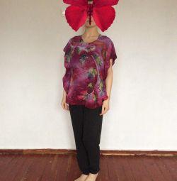 Silk blouse-serape, lucrare de autor
