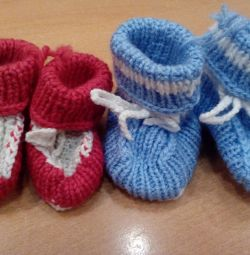 Knitted socks - booties, new