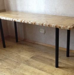 Table 180x60x76 cm, wood, tile finish