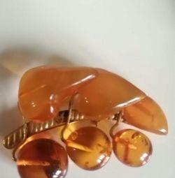 Brooch amber vintage
