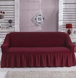 ?Euro cover on a straight sofa color burgundy