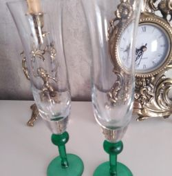 Wedding couple of wine glasses