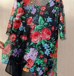 ПОГ-58 летняя блузка из США из сеточки