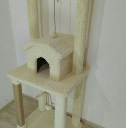 Complex for cats with a house, scratching