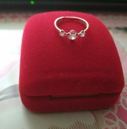 Golden Ring with Imitation Diamonds
