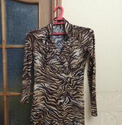 Leopar streç elbise