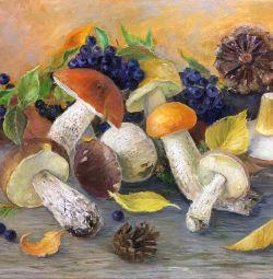 Ciuperca pictură în ulei viață