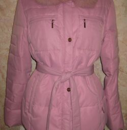 Розовая пуховая куртка, р.46