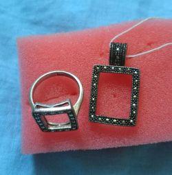 Inel de argint și pandantiv
