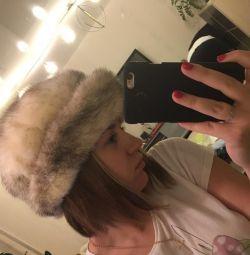 Норковая шапка с отворотом