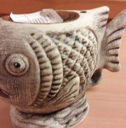 Aromalampa ceramică pește