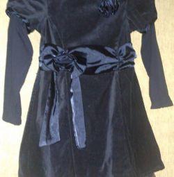 rochie de catifea elegant, mâneci tricotate