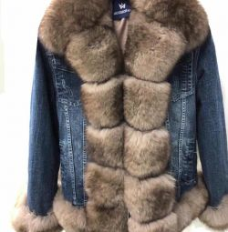 New denim fur finnish arctic fox inside rabbit