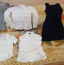 School uniform set. Dark blue sundress + 3 blouses