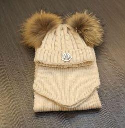 Комплект Moncler шапка и шарф