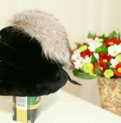 Γούνινο καπέλο 😍 Mouton + γραφή