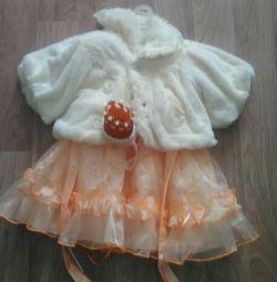 Children's dress + fur coat + crown