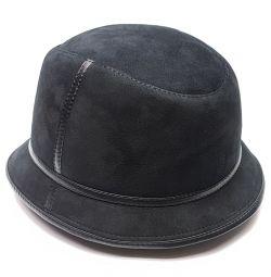 Panama hat men's fur winter (black)