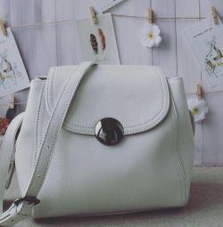Νέα μπεζ τσάντα από δέρμα