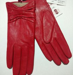 New gloves red, genuine leather