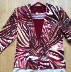 Пиджак женский новый, р. 46, юбка бежевая р. 46