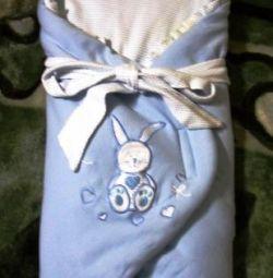 Envelope for a newborn, blue.