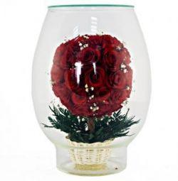 Цветы в стекле из натуральных роз и орхидей