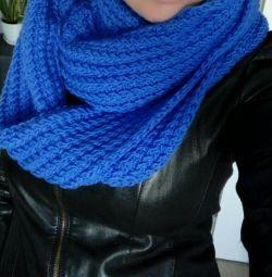 Новый Шерстяной шарф хомут синий