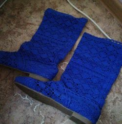 Летние сапожки 38р. Белые и синие