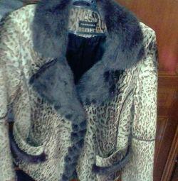 Jacket female calfskin fur mink