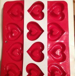 2формы для выпечки сердце (силикон)