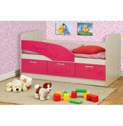Дитяче ліжко Дельфін розов металік
